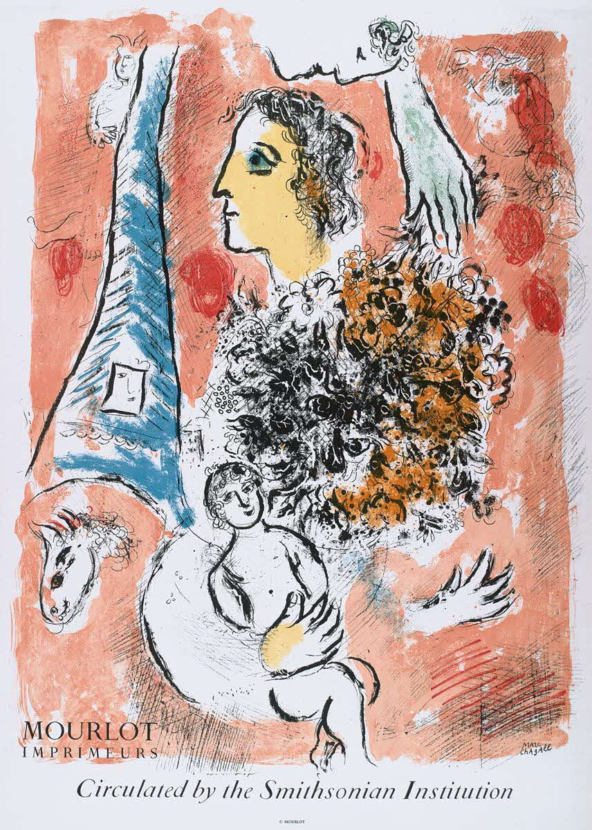 "Marc Chagall (1887 - 1985) -  Offrande à la Tour Eiffel. Plakat. Farblithographie bei Mourlot, Paris 1964 - 71 x 51 cm -  Namenszug im Stein und Text ""Circulated by the Smithsonian Institution"" - Sorlier 49. Mourlot 516."