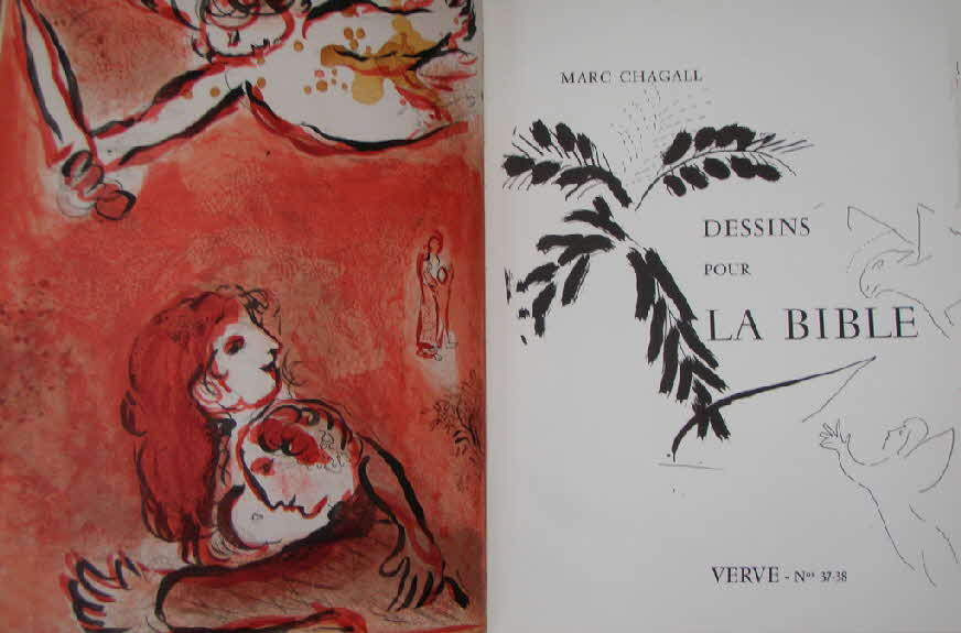 Marc Chagall (1887 - 1985) - Drawings for the bible - 24 Farblithographien - 1960 - Mourlot Freres - Verve 37/38 - 36 x 26 cm